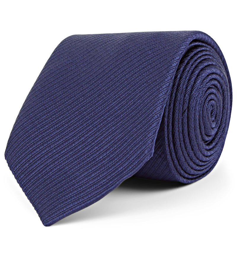 Diagonal Weave Silk Tie in Navy