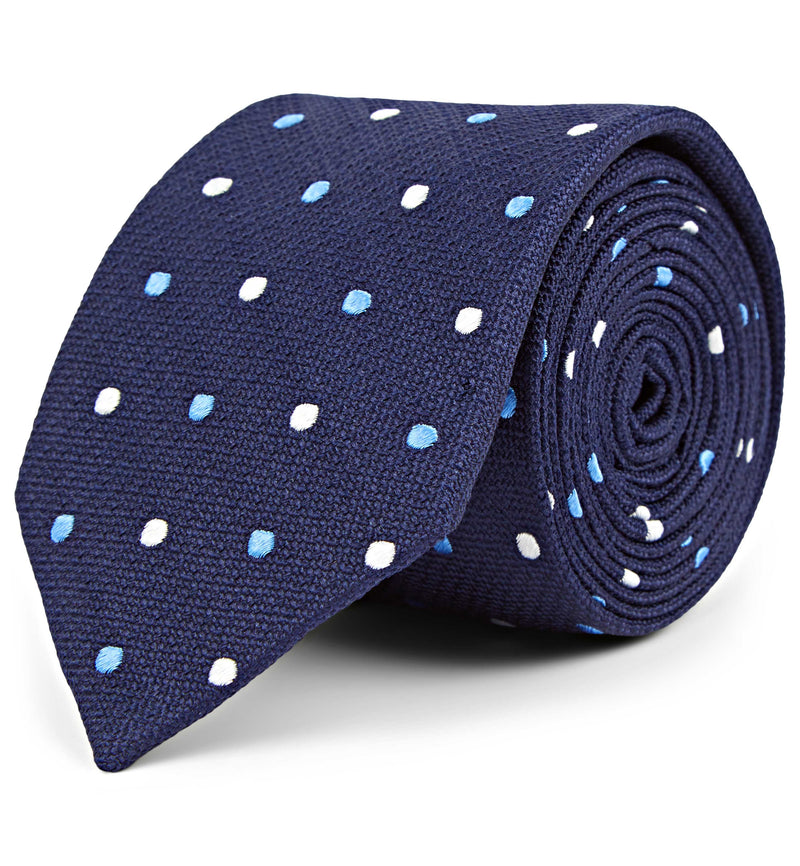 Silk Embroidered Spot Silk Tie in Navy
