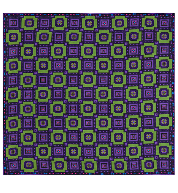 Paisley Check Silk Pocket Square in Green