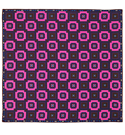 Paisley Check Silk Pocket Square in Pink