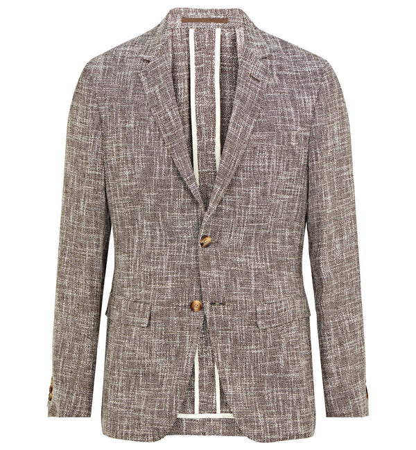 Pitfield Deconstruct Jacket in Brown & Cream Linen