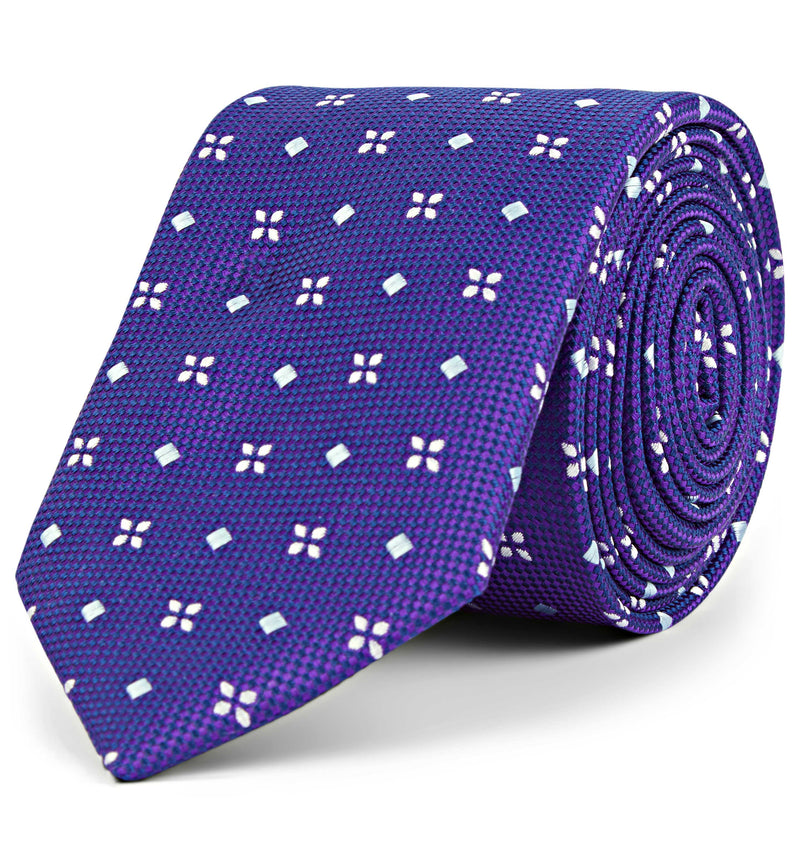 Embroidered Fleur Silk Tie in Purple