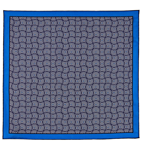 Spiral Circle Silk Twill Pocket Square in Blue