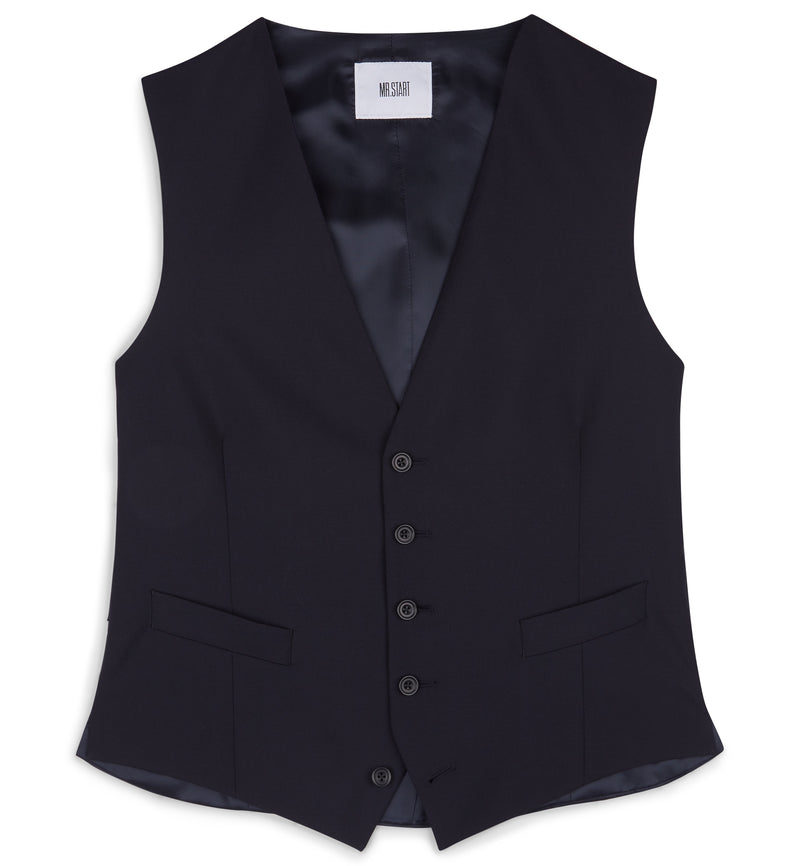 Navy Single Breasted Waistcoat Without Lapels