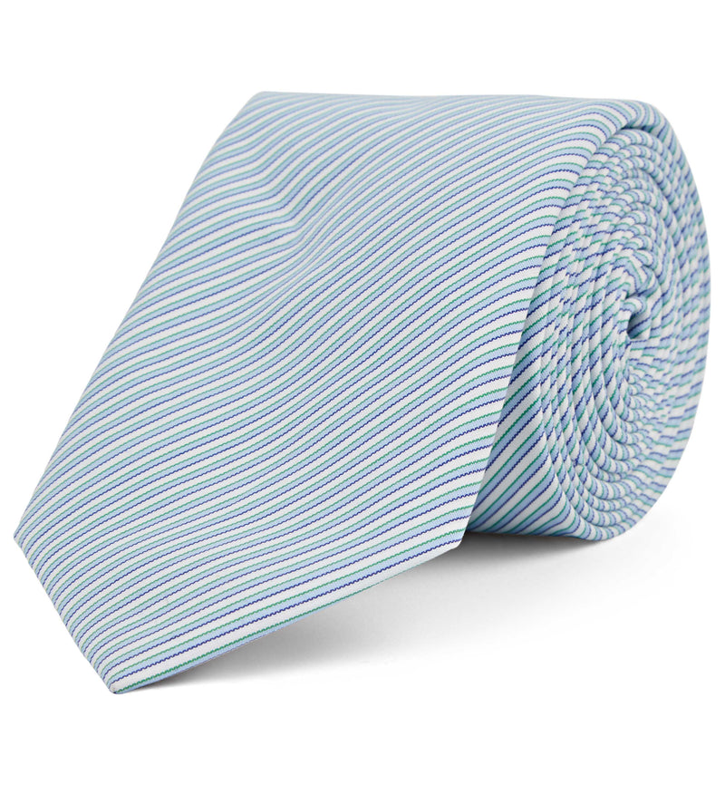 Cotton Tie in Fine Multi Stripe
