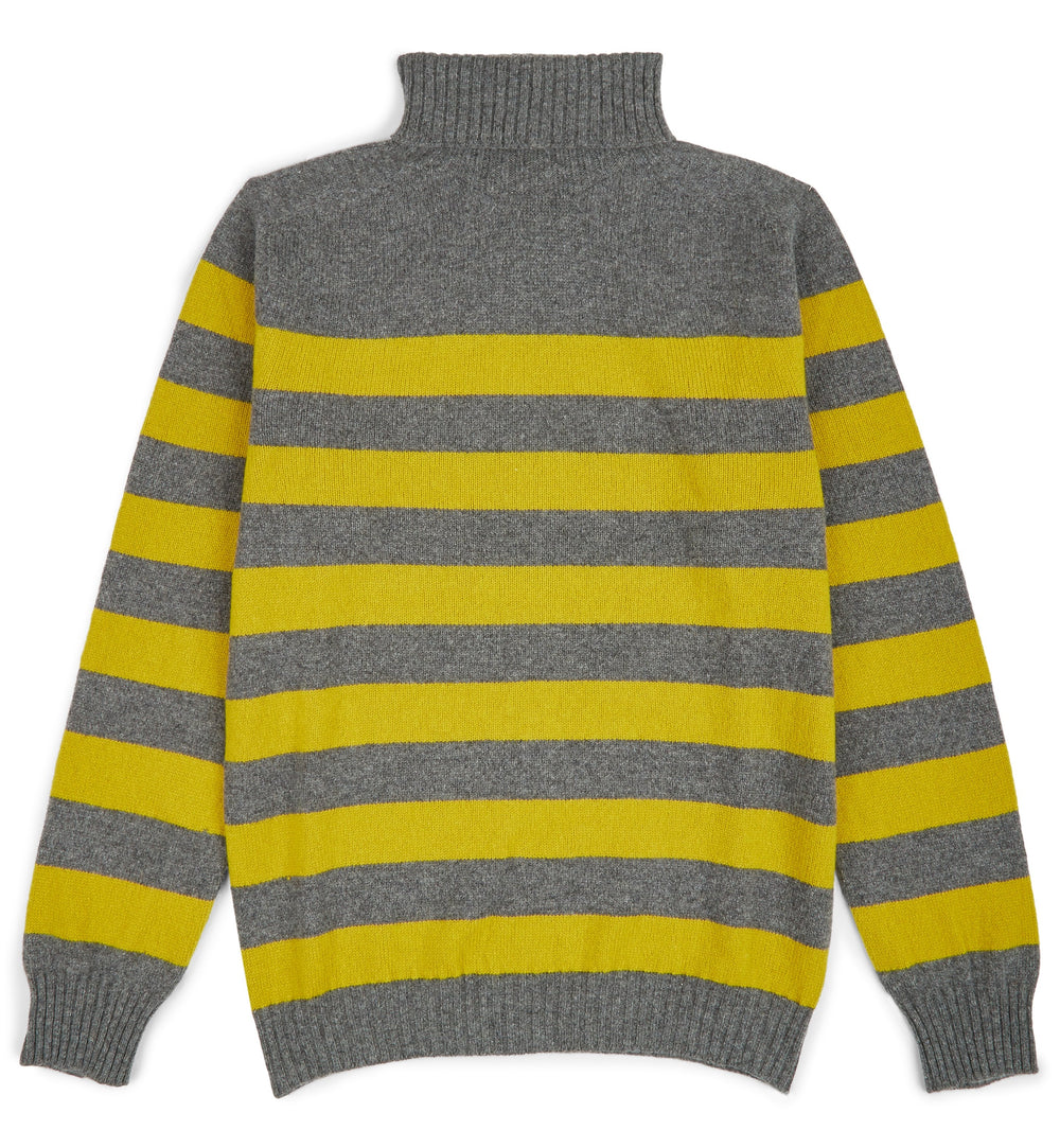 Kilbirnie Geelong Striped Roll Neck in Derby Grey and Turmeric