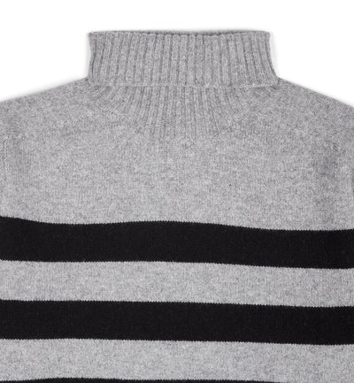 Kilbirnie Geelong Striped Roll Neck in Flannel Grey and Black