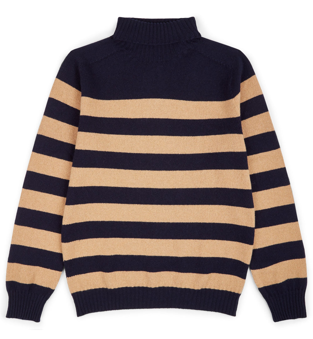 Kilbirnie Geelong Striped Roll Neck in Nero Navy and Brown