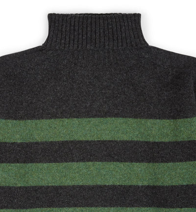 Kilbirnie Geelong Striped Roll Neck in Charcoal and Serpentine