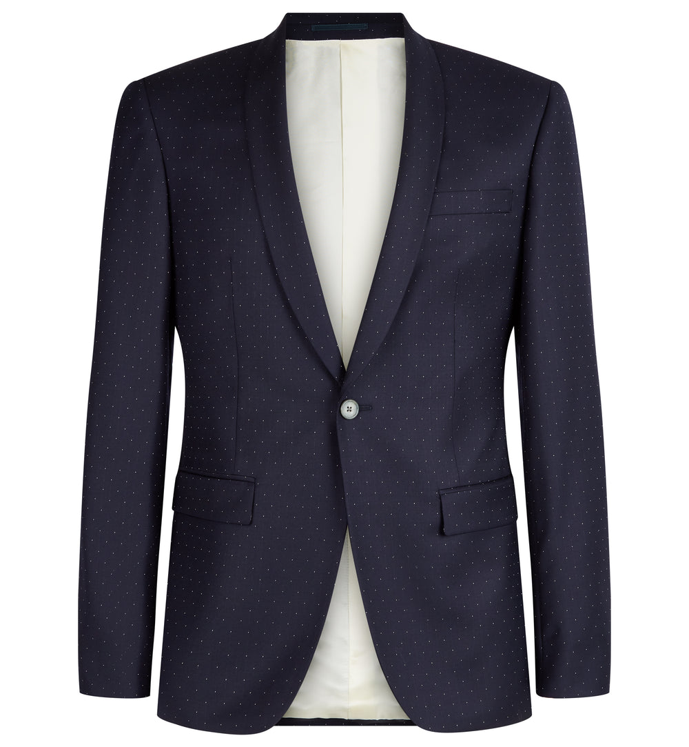 Rivington Shawl Collar Pindot Suit in Navy
