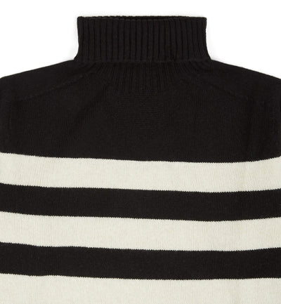 Kilbirnie Geelong Striped Roll Neck in Black and Almond