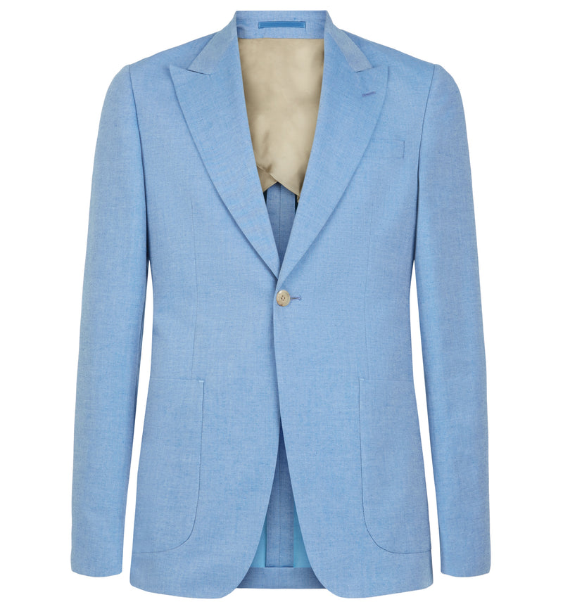 Sky Blue Peak Lapel Cotton Suit