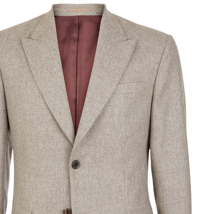 Oatmeal Flannel Peak Lapel Suit