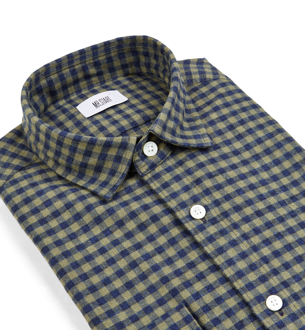 Truman Military Green Gingham Shirt