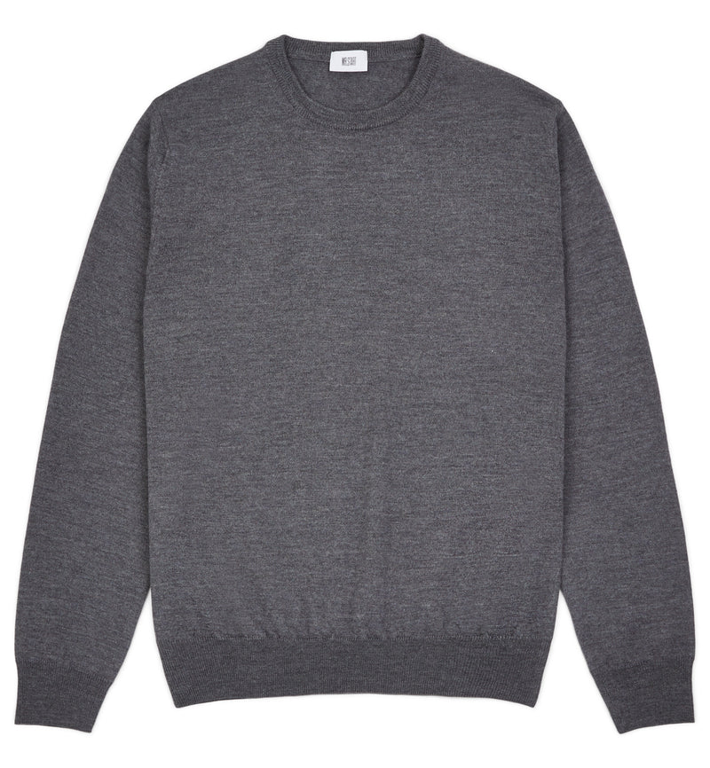 Hoi Polloi Merino Crew Neck in Cement Grey
