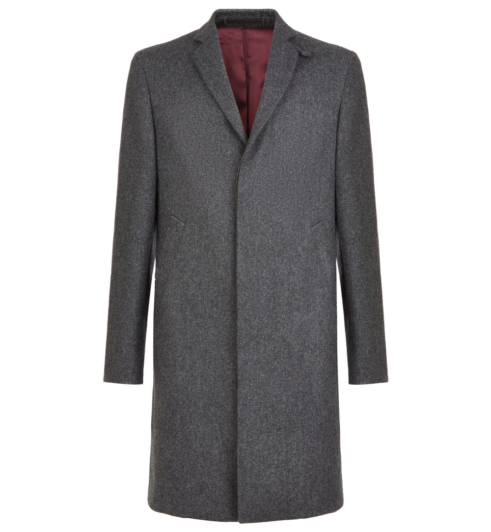 Dorchester Tailored Merino Lambswool Overcoat in Charcoal