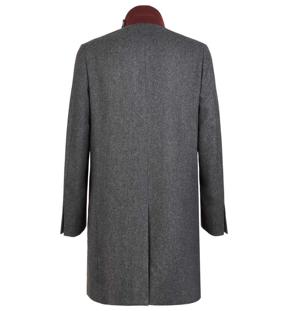 Dorchester Tailored Merino Lambswool Overcoat in Charcoal Grey