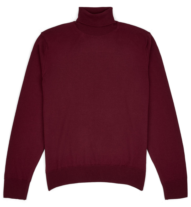 Burgundy Hoi Polloi Merino Wool Roll Neck