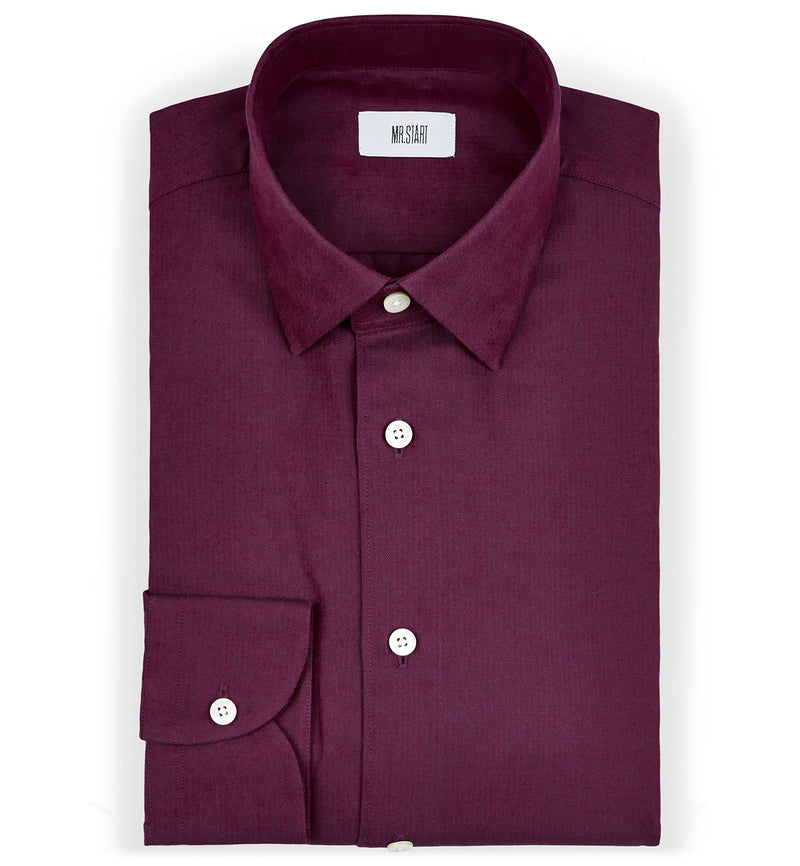 Drake Fine Herringbone Slim Fit Cotton Shirt in Burgundy