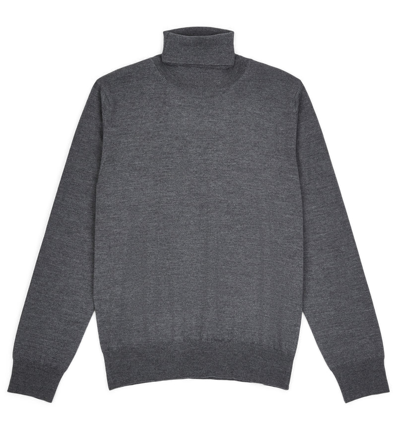 Cement Grey Hoi Polloi Merino Wool Roll Neck