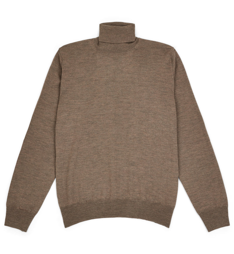 Hoi Polloi Merino Wool Roll Neck in Cafè Latte