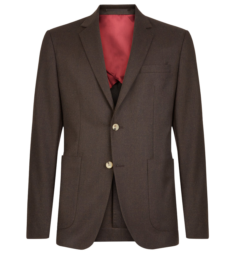 Pitfield Suit in Dark Brown Flannel