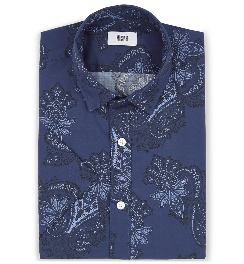 Factory Dark Navy Half Sleeve Print Shirt