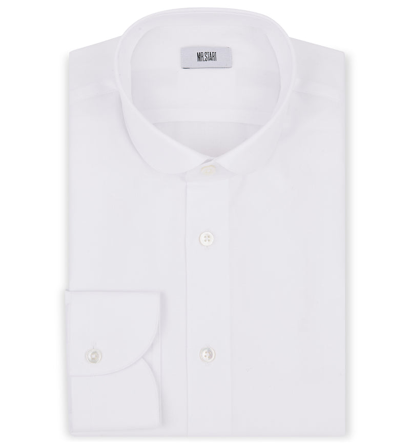 Zetter Round Collar Shirt in White Piquet
