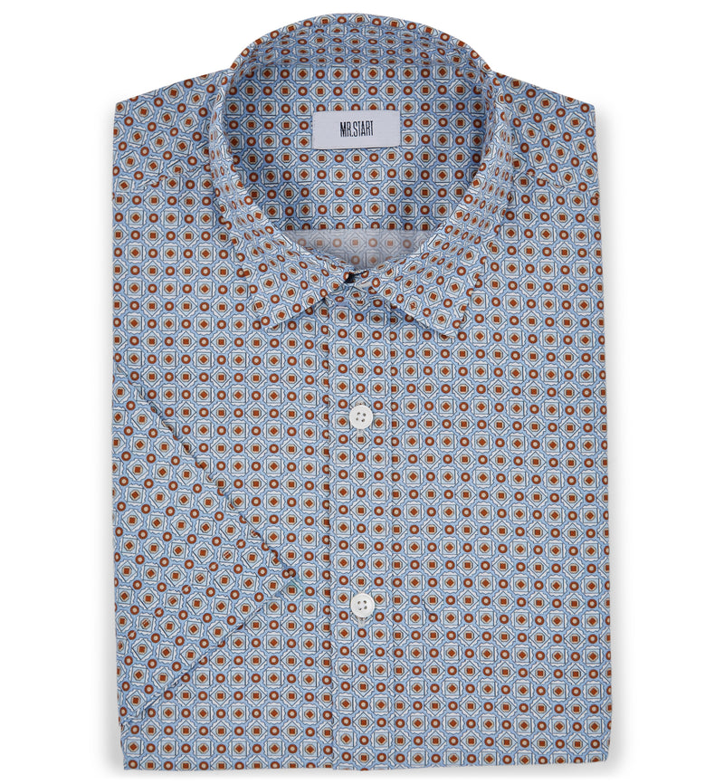 Factory Half Sleeve Pale Blue Print Shirt
