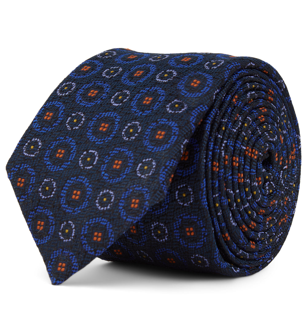 Blue Circle Patterned Silk Tie