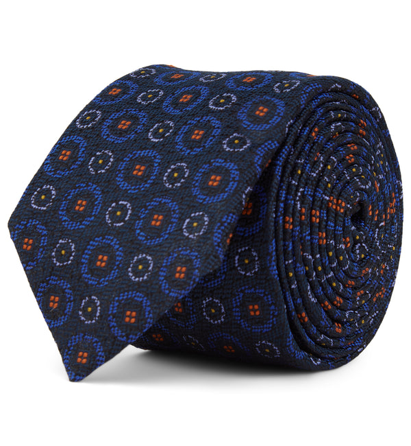 Circle Patterned Silk Tie in Blue