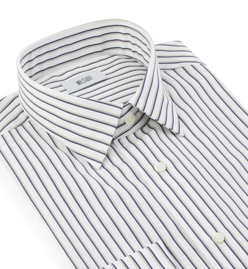 Drake Shirt in Bold Navy Shadow Stripe