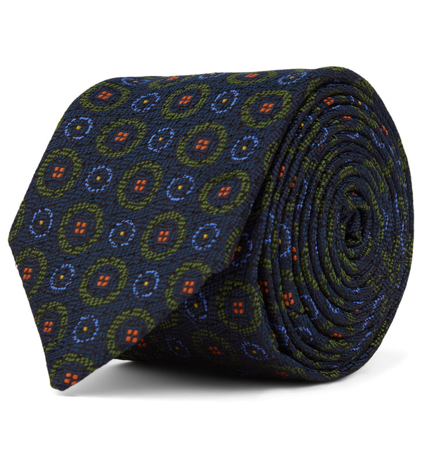 Circle Patterned Silk Tie in Green