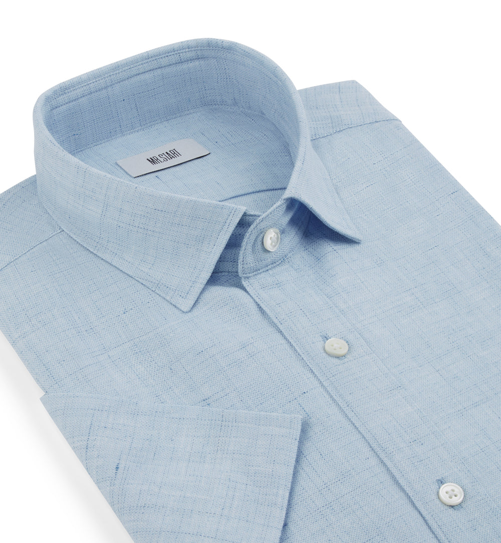 Factory Half Sleeve Shirt in Blue Linen Mix