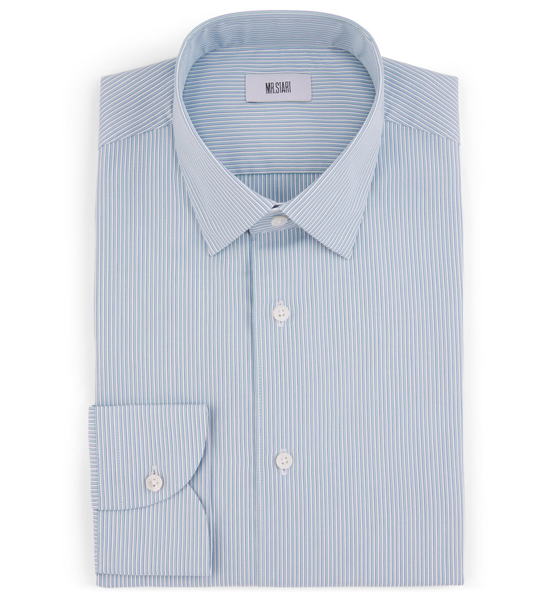 Drake Shirt in Mixed Fine Stripe