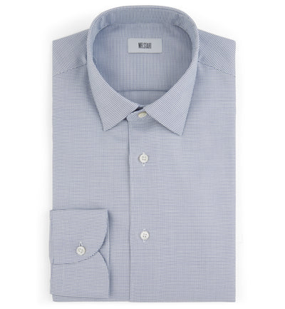 Drake Slim Fit Cotton Shirt in Blue Digital Weave