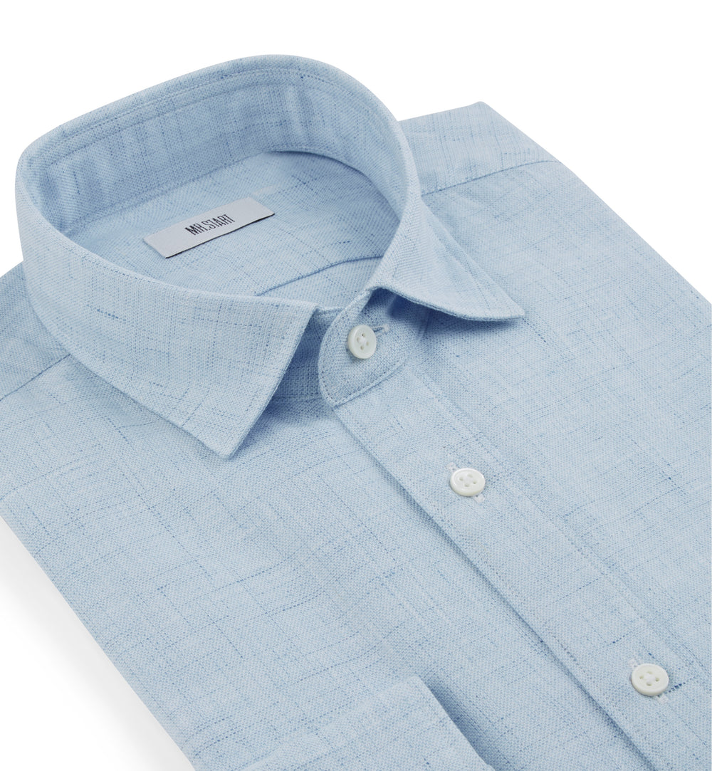 Truman Light Blue Cotton Linen Shirt