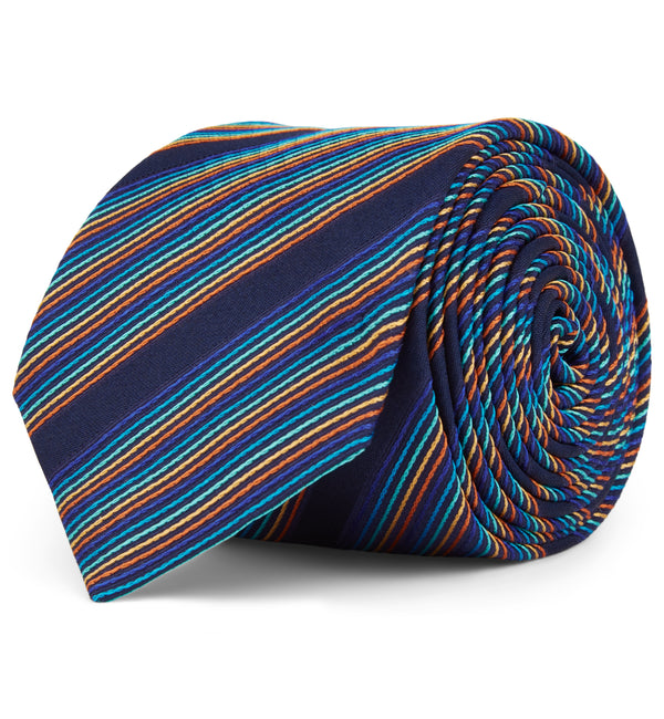 Woven Striped Silk Tie in Multi Copper