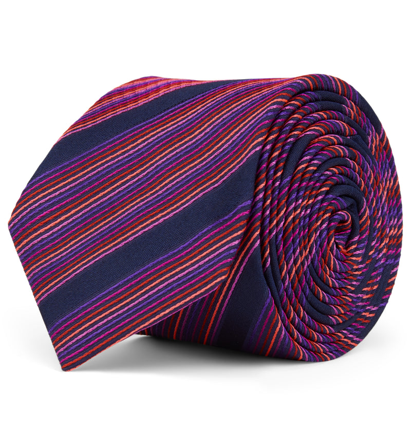 Woven Striped Cerise Silk Tie