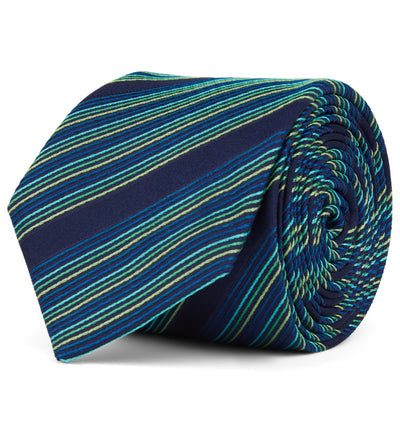 Woven Striped Multi Turquoise Silk Tie