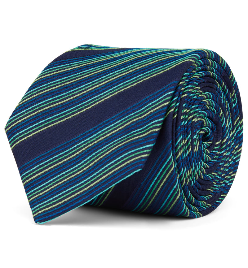 Woven Striped Silk Tie Multi Turquoise