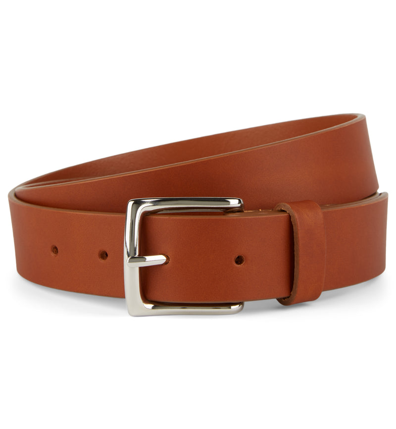 Cognac Flat Edge Leather Belt with Square Buckle