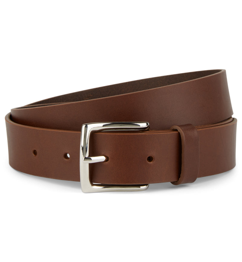 Brown Flat Edge Leather Belt with Square Buckle