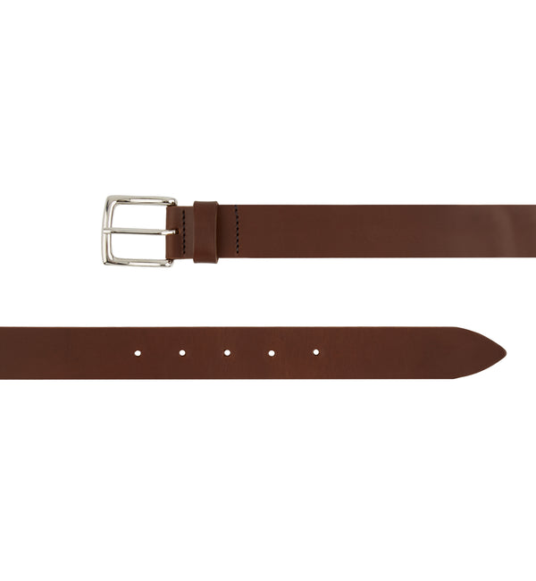 Flat Edge Leather Belt with Square Buckle in Brown
