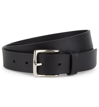 Flat Edge Leather Belt with Square Buckle in Black