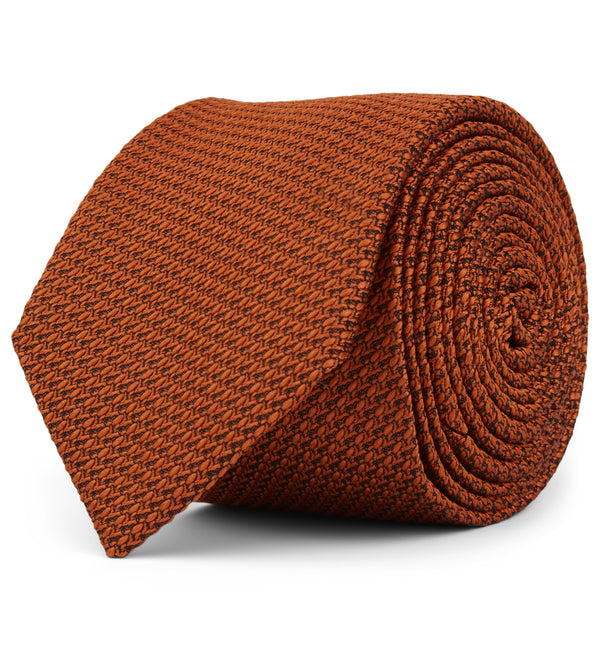 Textured Weave Silk Tie in Copper, Slim or Wide