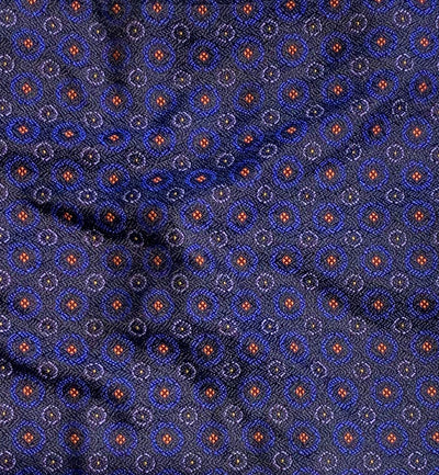 Blue Circle Patterned Silk Pocket Square