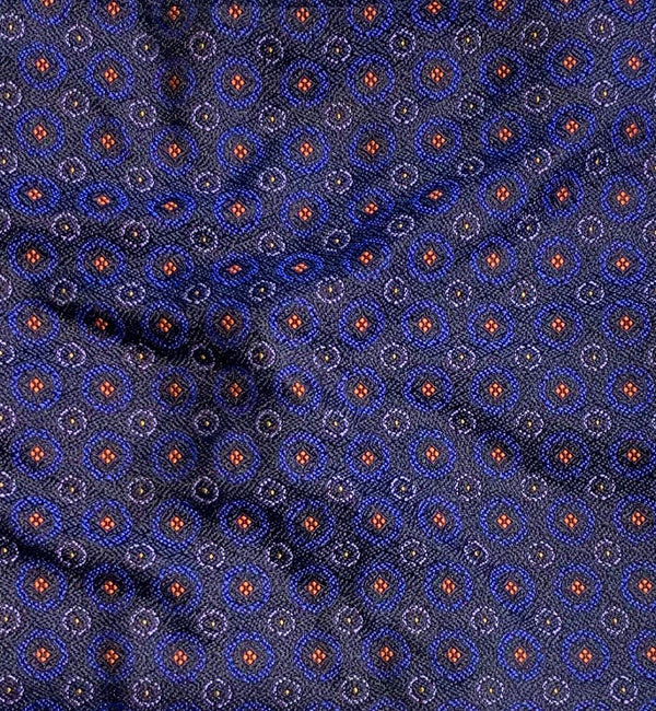 Circle Patterned Silk Pocket Square in Blue