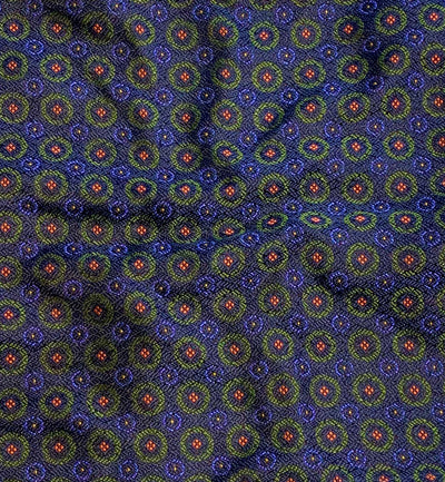 Green Circle Patterned Silk Pocket Square