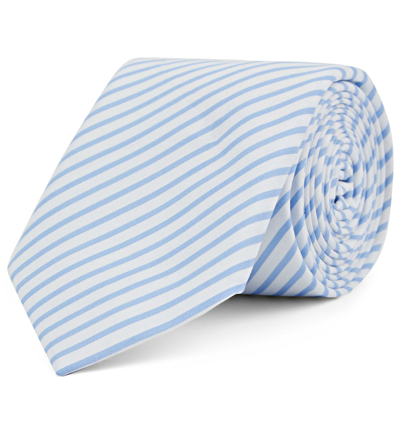 Cotton Tie in Light Blue Candy Stripe